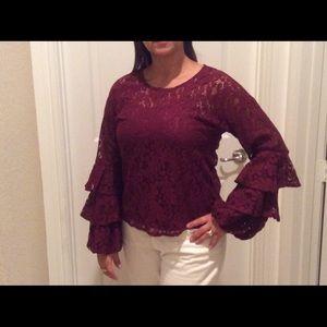 Beautiful wine color blouse.